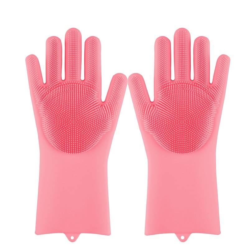 Magic Silicone Washing Sponge Gloves Color: Pink