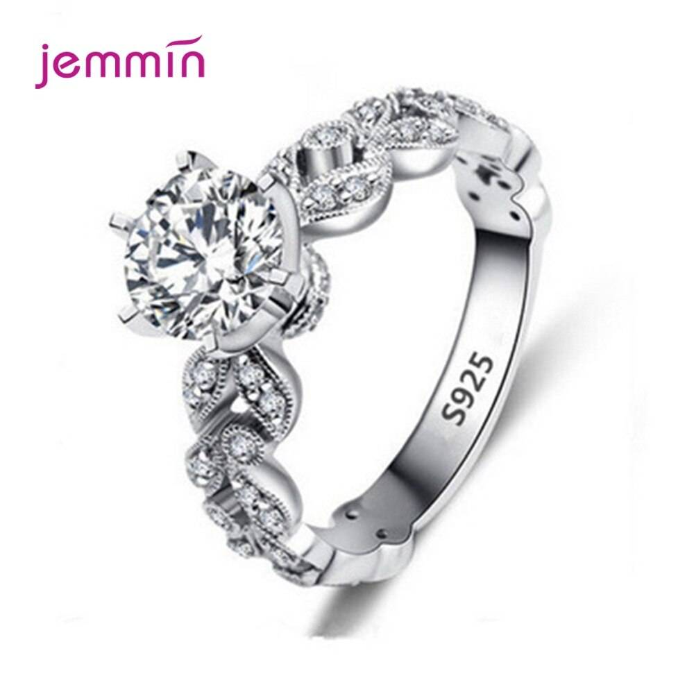 Best Selling 925 Sterling Silver Cubic Zirconia Crystal Rings Anti-Allergy Women'S Wedding Charms Jewelry Bague Free Shiping
