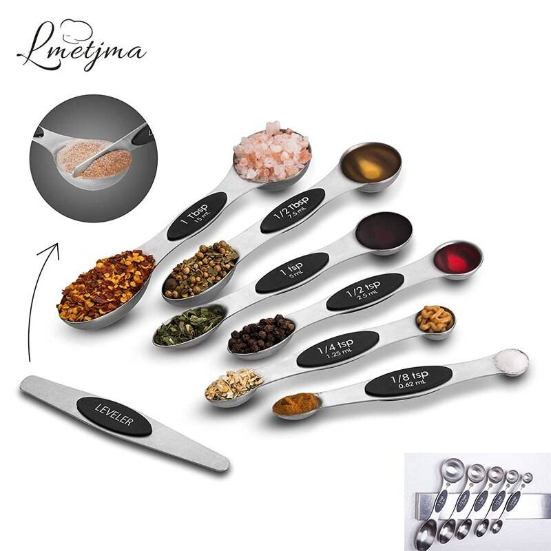 LMETJMA 7pcs/set Magnetic Measuring Spoons Set with Leveler Stainless Steel Double-Sided Measuring Spoons Set for Cooking Baking