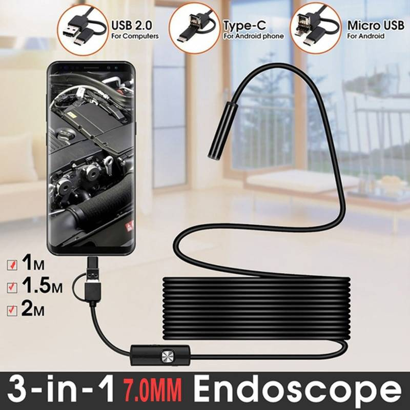 TYPE C USB Mini Endoscope Camera 7mm 2m 1m 1.5m Flexible Hard Cable Snake Borescope Inspection Camera for Android Smartphone PC