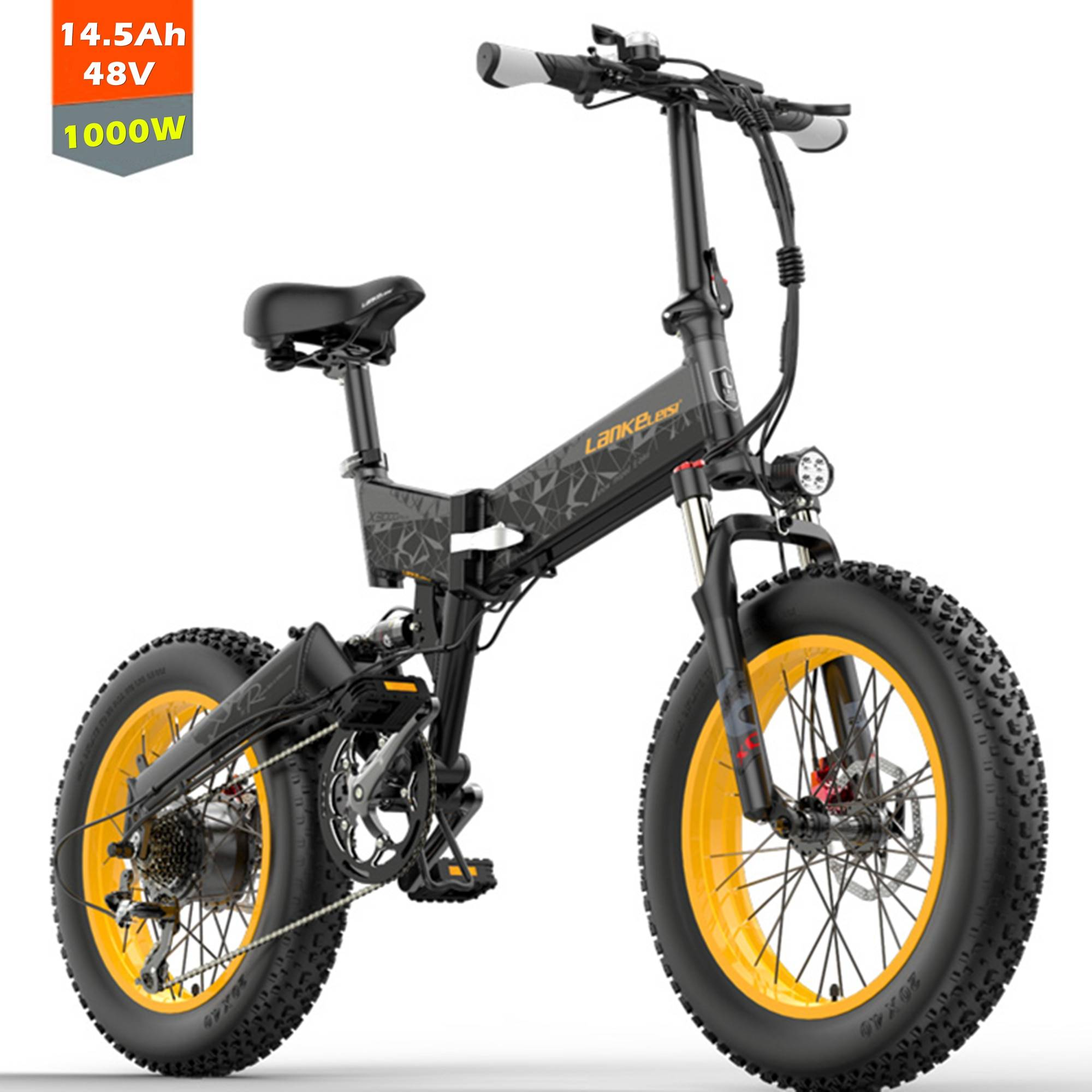 X3000plus 20 Inch Folding Electric Snow Bike,  Fat Tire Bicycle, 500W / 1000W  Front & Rear Dual Suspension