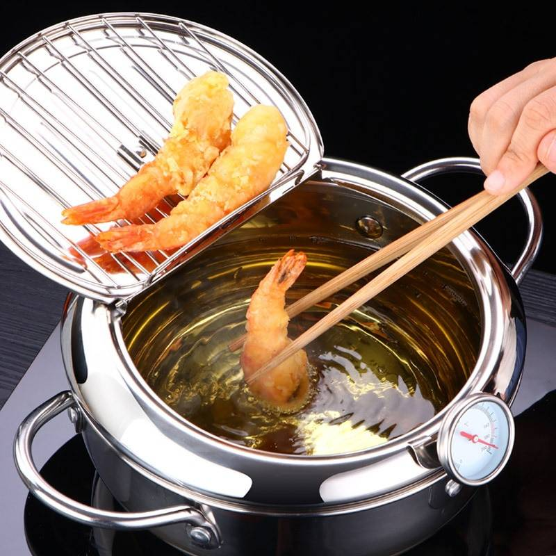 https://hotstarstore.com LMETJMA Japanese Deep Frying Pot with a Thermometer and a Lid 304 Stainless Steel Kitchen Tempura Fryer Pan 20 24 cm KC0405 Hot Star Store