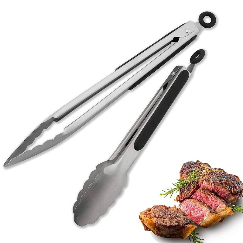 https://hotstarstore.com LMETJMA 9'' 12'' 14'' 16'' Kitchen Tongs Stainless Steel Grill Tongs for Cooking BBQ Non-Slip Salad Tongs Clips KC0312 Hot Star Store