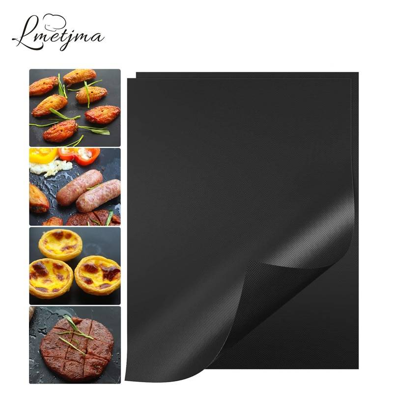 https://hotstarstore.com LMETJMA Dropshipping BBQ Mats Non Stick BBQ Grill Mats Reusable PTFE Barbecue Pad with 1 Silicone Brush BBQ Tools YT0400 Hot Star Store