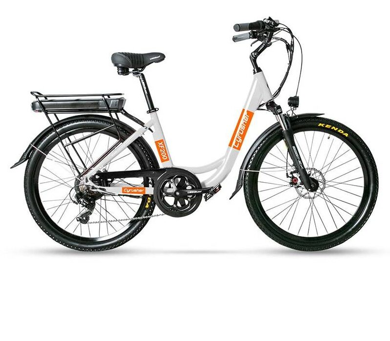 https://hotstarstore.com Cyrusher XF200 48V 500W Electric Bicycle for Women 14ah Li-Battery Double Suspension Seat Ebike with Rear Rack New Hot Star Store
