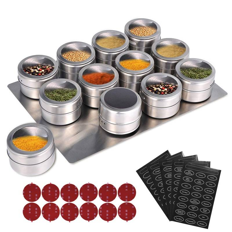 https://hotstarstore.com LMETJMA Magnetic Spice Jars With Wall Mounted Rack Stainless Steel Spice Tins Spice Seasoning Containers With Spice Label KC0305 Hot Star Store