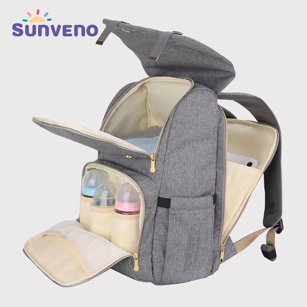 SUNVENO Fashion Diaper Bag Mommy Maternity Nappy Bag Large Capacity Travel Backpack Nursing Bag for Baby Care