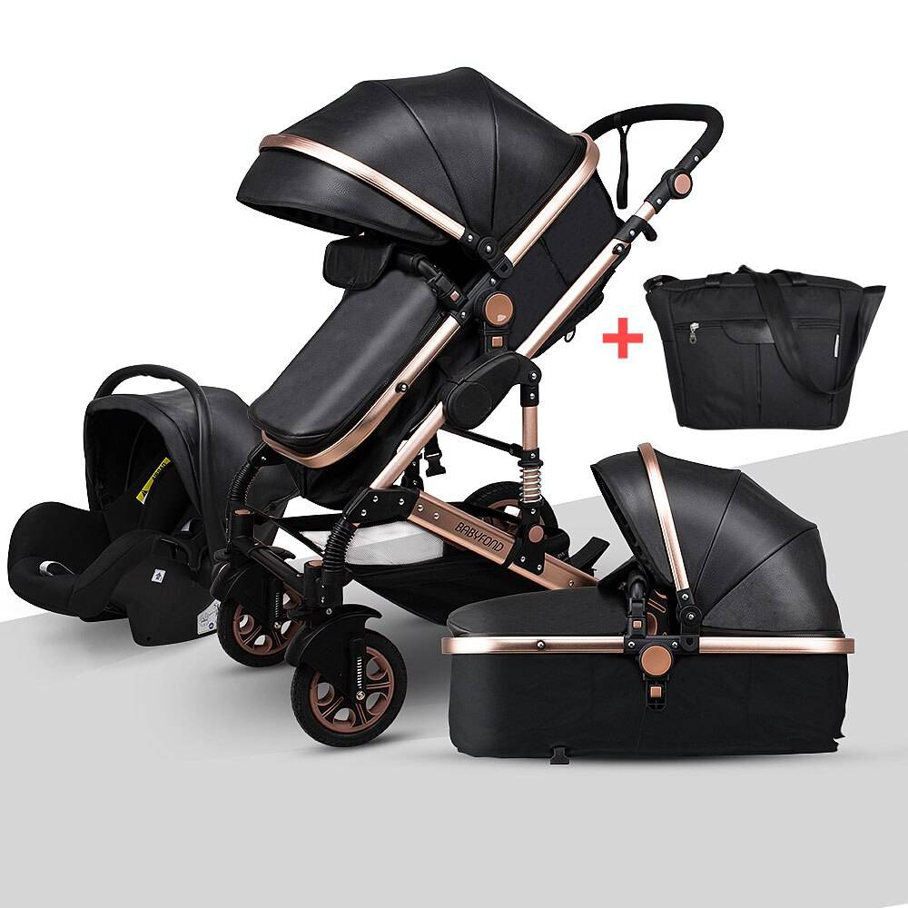 Baby Stroller 3 in 1 High Landscape Luxury Carriages Can Sit Reclining Multi-functional Fashion Shock Absorber Pram For Newborn