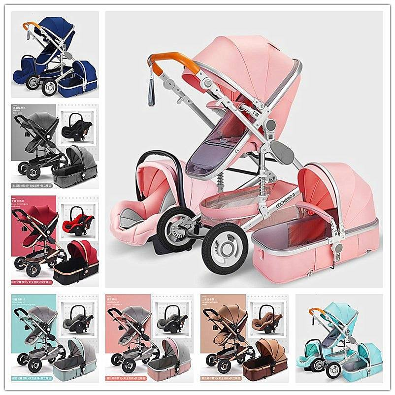 https://hotstarstore.com 3 in 1 Multifunctional Baby Stroller Folding Carriage High Landscape Gold Red Baby Stroller Newborn Stroller Mother Assistant Hot Star Store