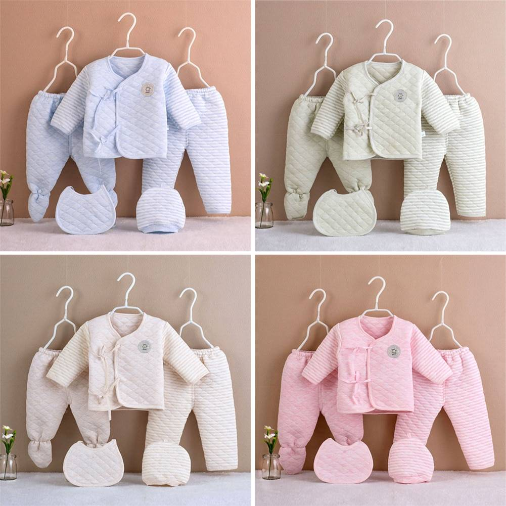https://hotstarstore.com 5Pcs/set Newborn Baby Cotton Clothes Set Infant Baby Girls Boys Warm Thickening Underwear Suit Toddler Outfit for New Born Gifts Hot Star Store