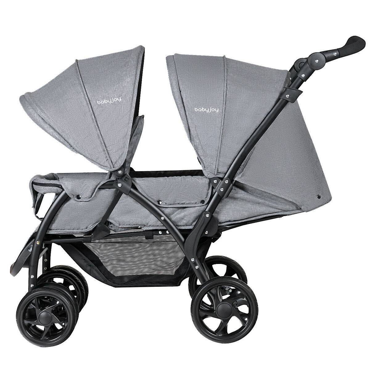 https://hotstarstore.com Foldable Double Baby Stroller Stand On Front & Back Seats Pushchair Gray Hot Star Store